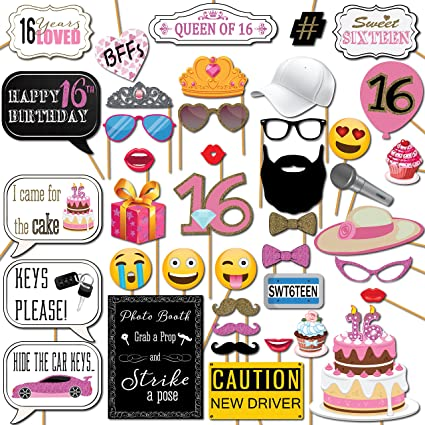 Amazoncom Sweet 16 Birthday Photo Booth Props Party Kit 41 Pieces