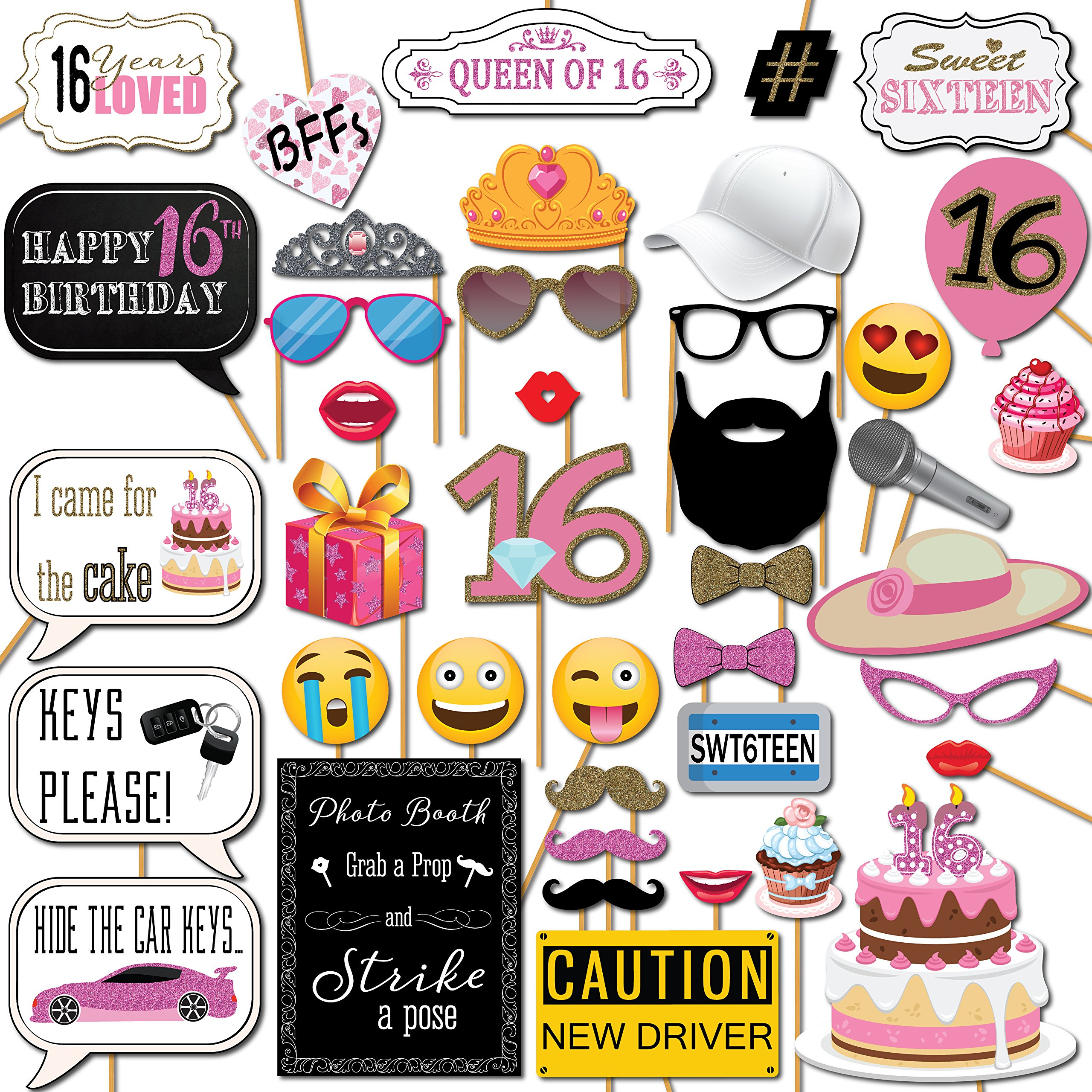 Sweet 16 Birthday Photo Booth Props Party Kit 41 Pieces With Wooden