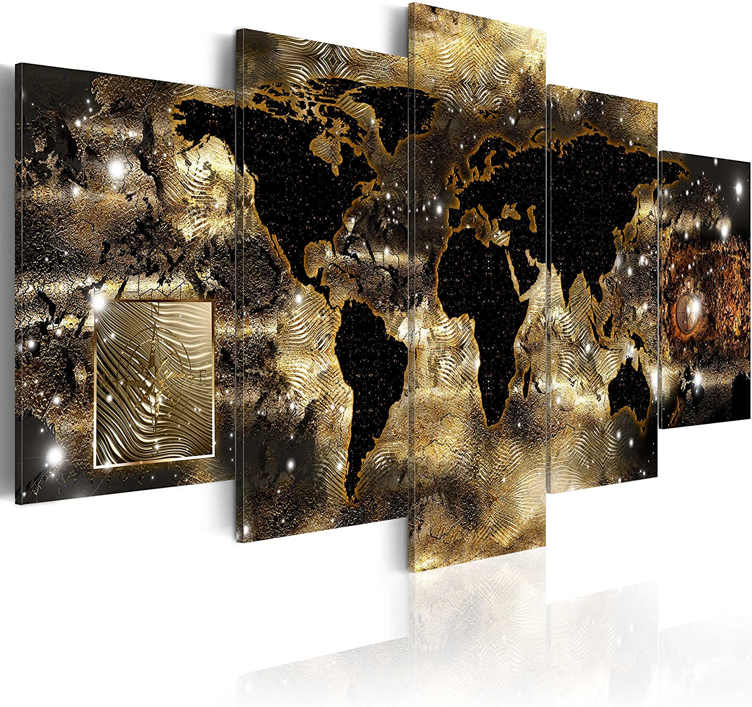 World Map Canvas Wall Art Large Gold Compass Picture Modern Painting Continents of Bronze Artwork Framed Home Decor for Bedroom 5 Panel Ready to Hang 60x30 inch