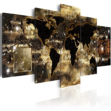 Amazon everlands art world map canvas wall art large gold everlands art world map canvas wall art large gold compass picture modern painting continents of bronze gumiabroncs Gallery