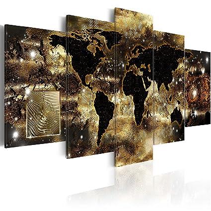 Gold World Map Wall Art.Amazon Com World Map Canvas Wall Art Gold Picture Modern Painting
