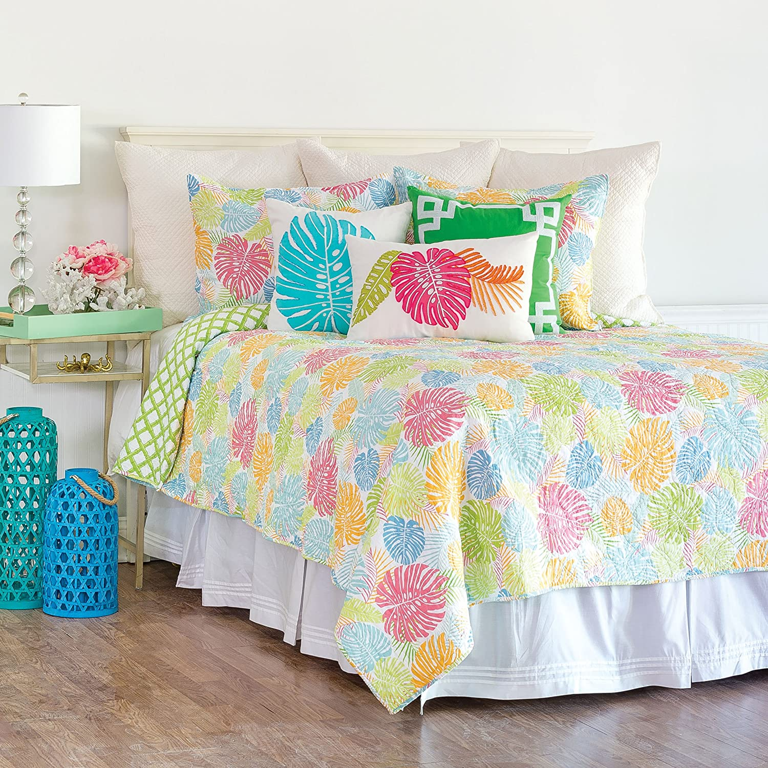 C&F Home Palm Beach Mini Set Queen or Full Size Reversible Quilt 92 X 90 Inch and 2 Standard Shams Full/Queen 3 Piece Set Green