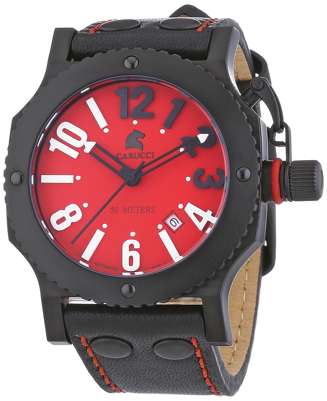 Carucci Watches Herren-Armbanduhr XL Analog Automatik Leder CA2210RD-BK