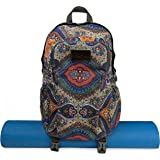 Yoga Mat Backpack Two Straps Patterned Canvas