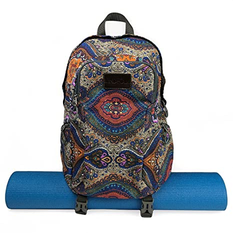 c95e0ac23246 Amazon.com   Kindfolk Yoga Mat Backpack Two Straps Patterned Canvas ...