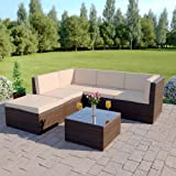 Abreo Rattan Modular Corner Sofa Set Garden Conservatory Furniture 5 To 9 Pcs (Barcelona, Brown)