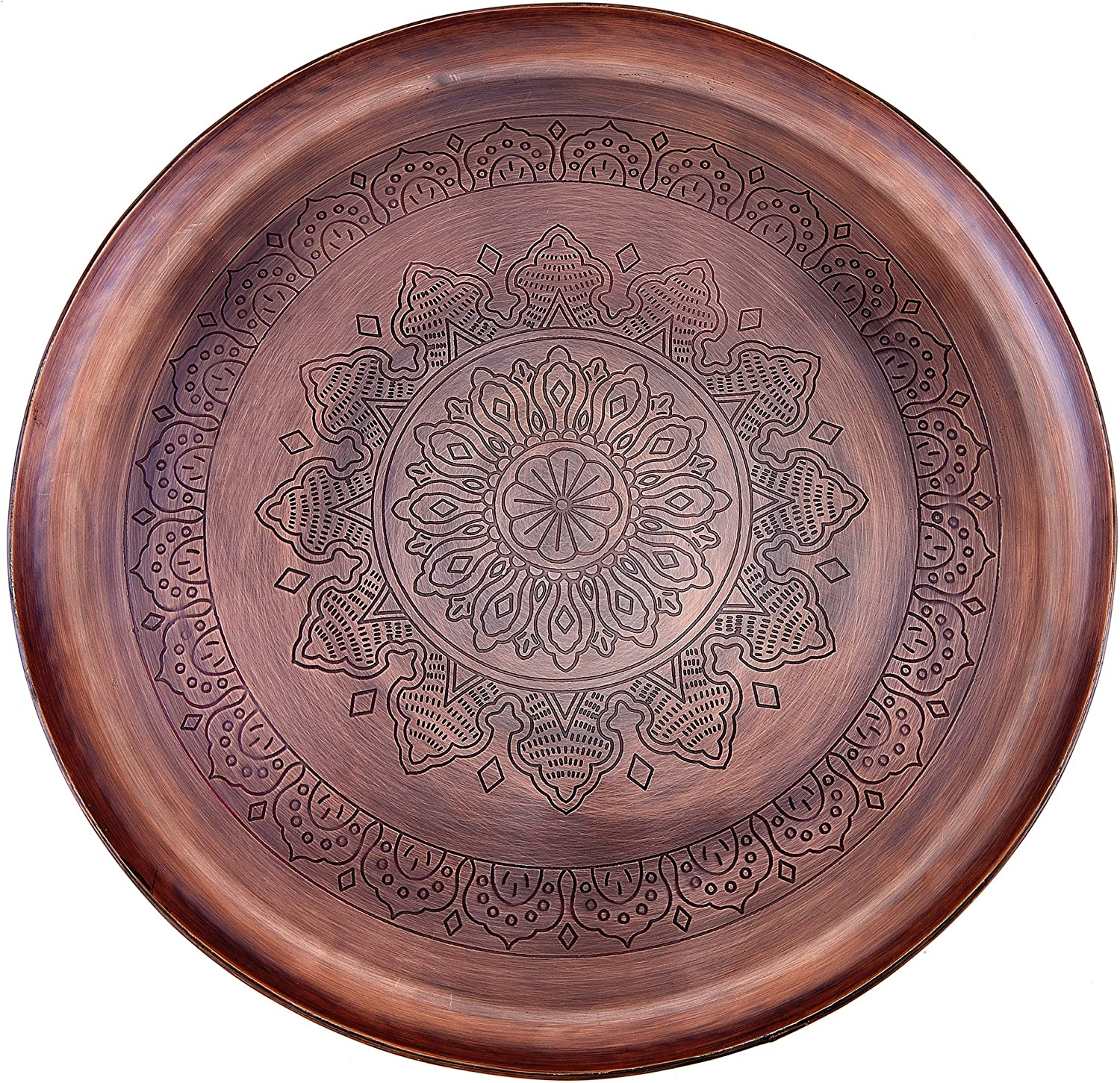 "Old Dutch Antique Copper Casablanca Etched Tray, 16"" Diameter"
