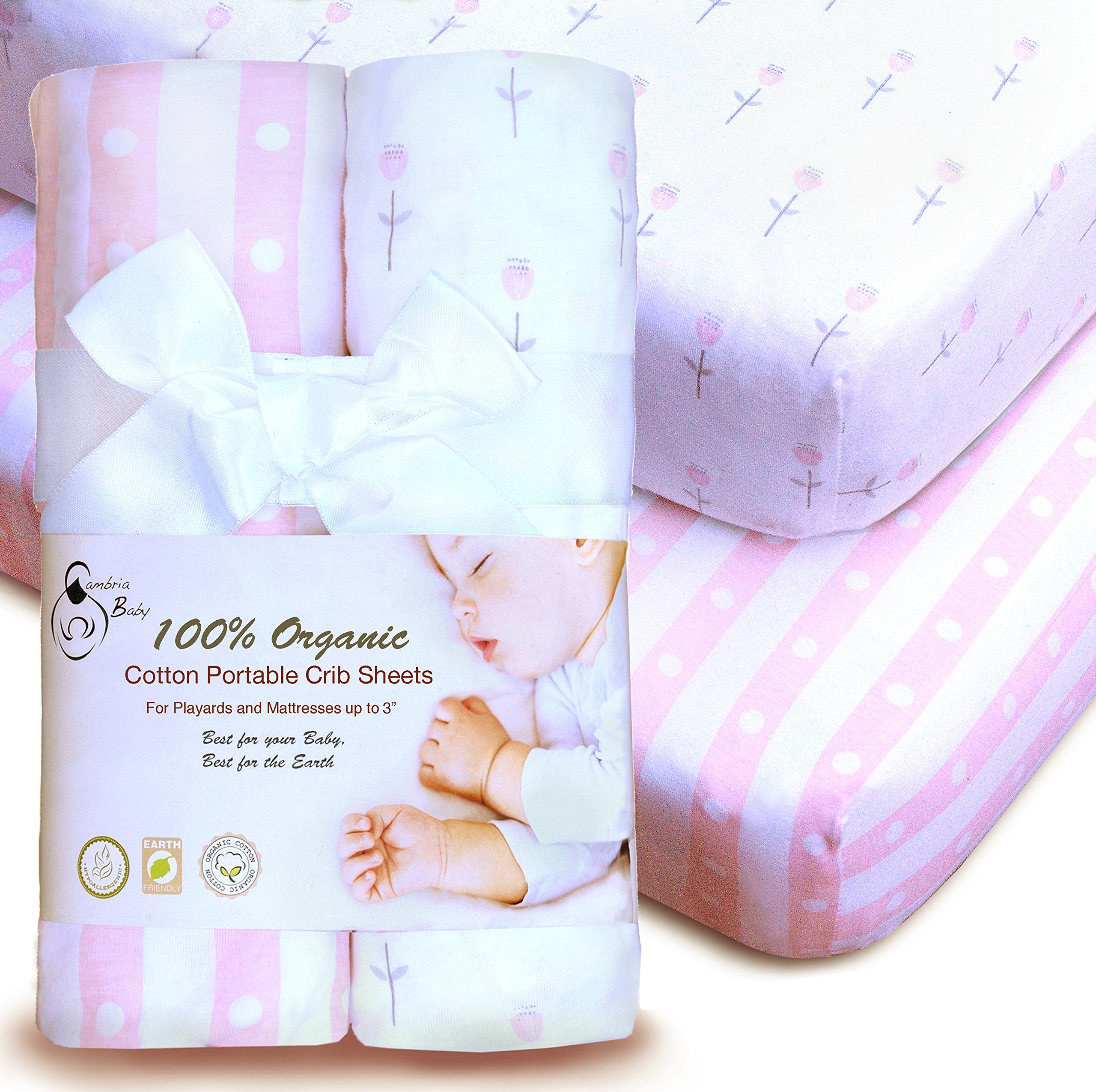 100% Organic Cotton Sheets for Pack 'n Play and Other Portable/Mini Cribs,Pink/White Girl's 2 Pack, for Playard Or up to 3'' Mattress