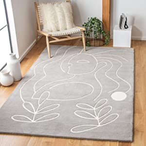Safavieh Fifth Avenue Collection FTV111F Handmade New Zealand Wool Area Rug, 4' x 6', Grey/Ivory