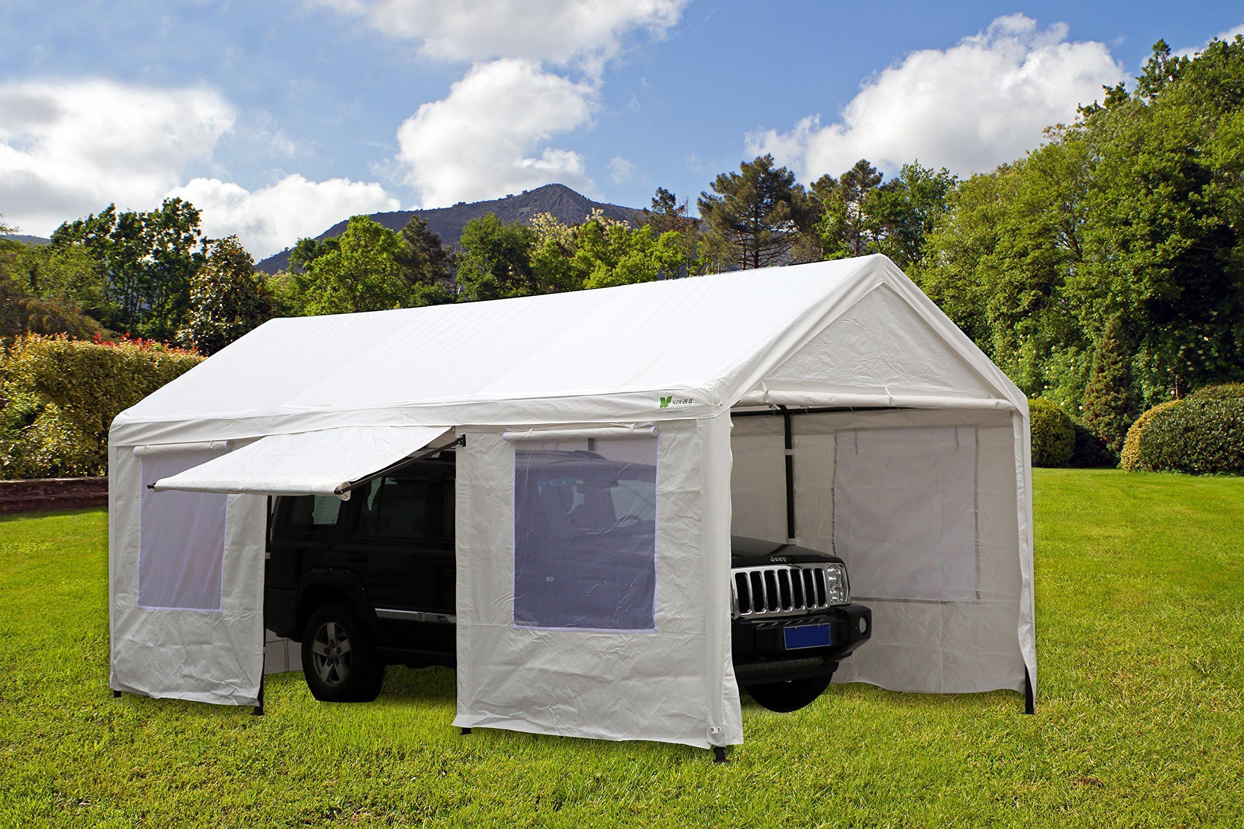 SORARA Carport 10 x 20 ft Heavy Duty Canopy Garage Car Shelter with Windows and Sidewalls, White by SORARA