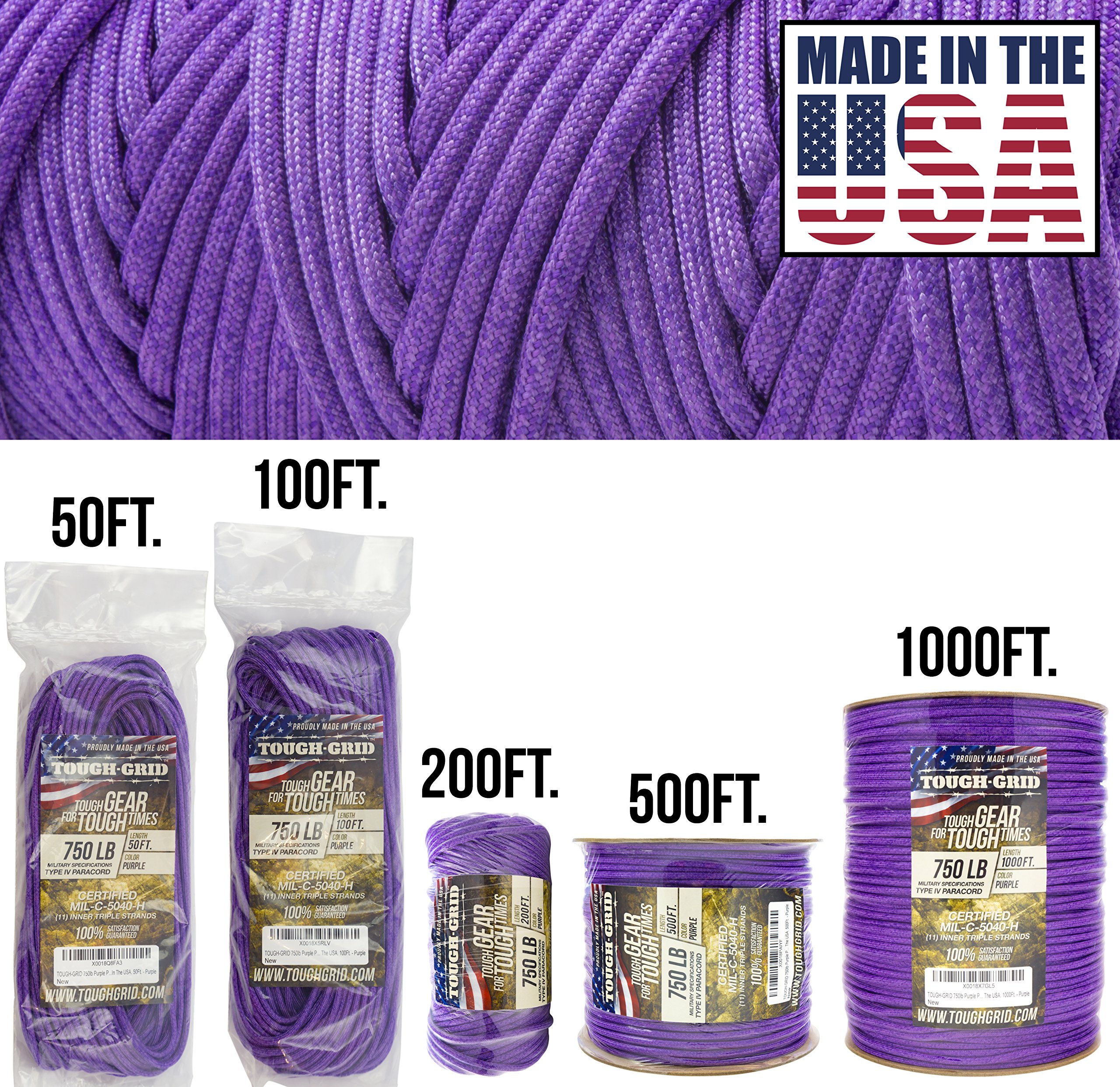 TOUGH-GRID 750lb Purple Paracord/Parachute Cord - Genuine Mil Spec Type IV 750lb Paracord Used by The US Military (MIl-C-5040-H) - 100% Nylon - Made in The USA. 200Ft. - Purple by TOUGH-GRID