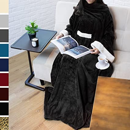 Amazon.com  PAVILIA Deluxe Fleece Blanket with Sleeves for Adult ... 9af36c8cd