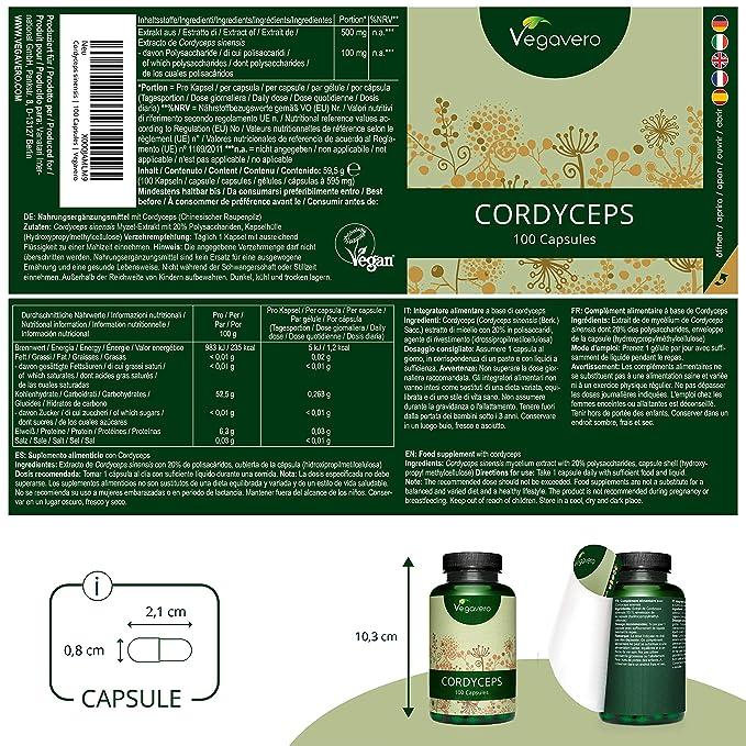 Cordyceps Vegavero® 5000 mg | Estandarizado a > 20% Polisacáridos (Betaglucanos) | 100 Cápsulas | Hongos Medicinales + Tónico + Antiedad | Aminoácidos ...