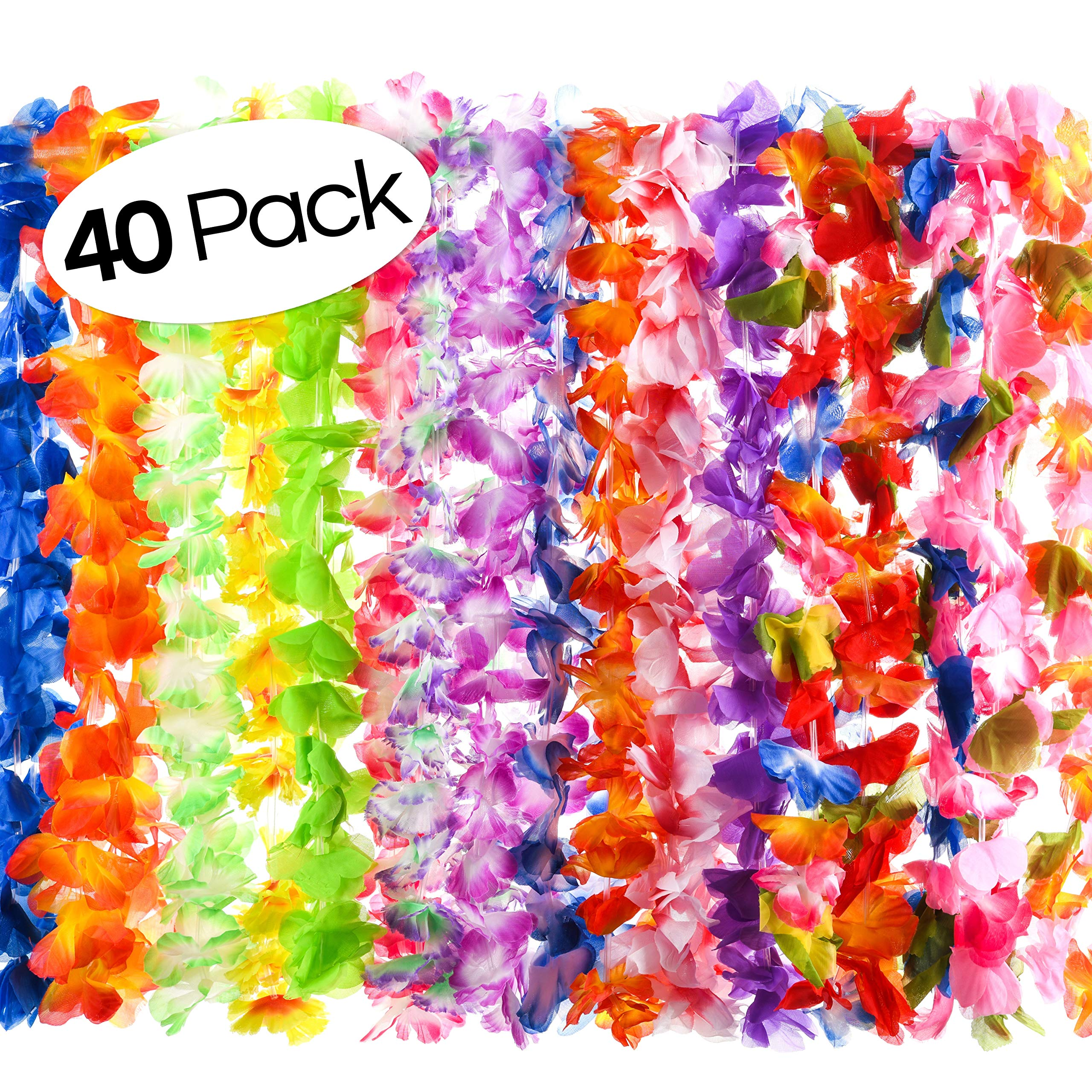 40 Count Hawaiian Flower Lei for Luau Party - Bulk Set of Floral Necklace Leis Vibrant Colors Assortment for Party Favors, Garland Decorations or Ornaments for Any Occasion by Prextex