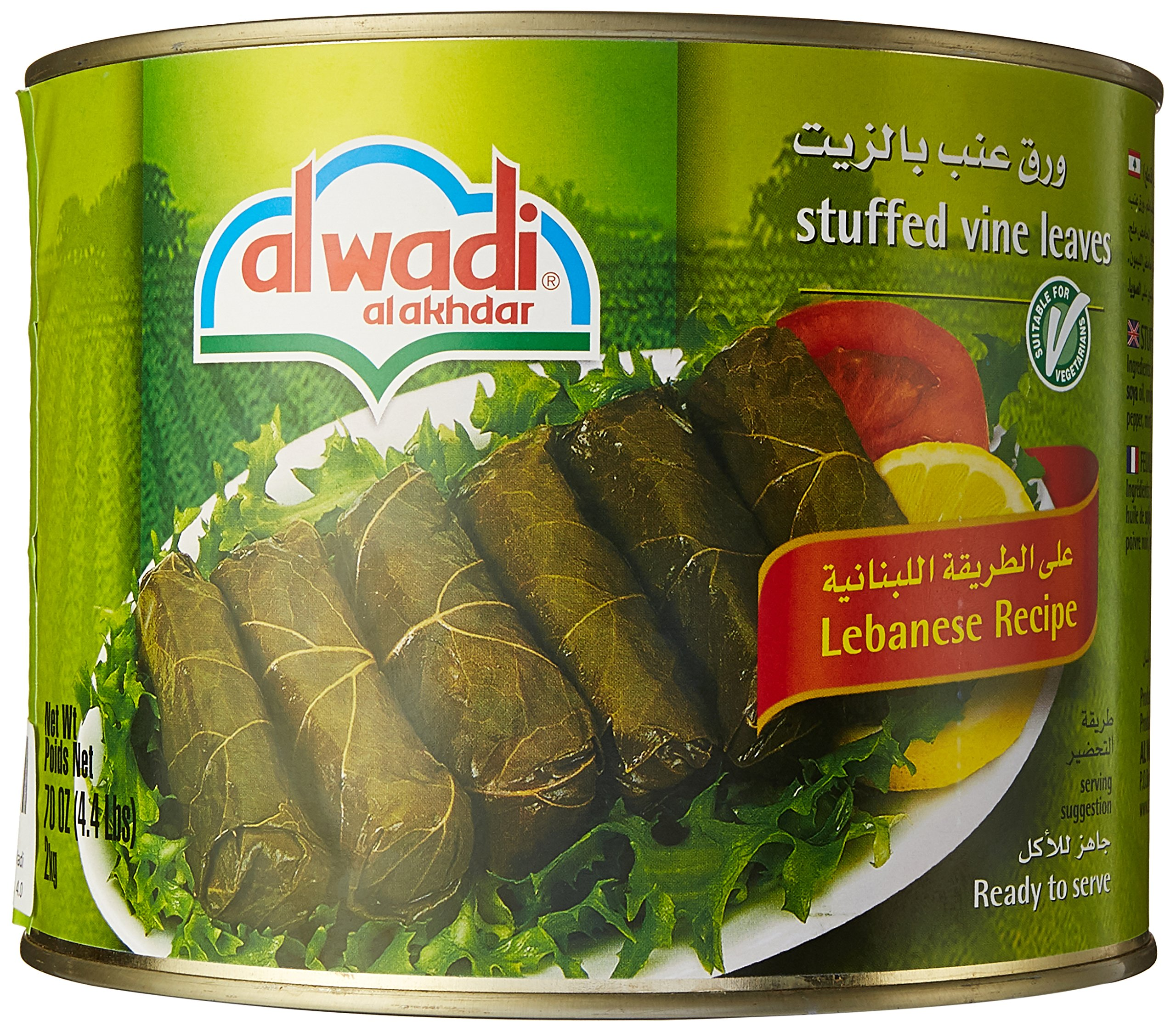 al Wadi alakhdar Gourmet Stuffed Vine Leaves, 4.4 Lbs by alwadi alakhdar