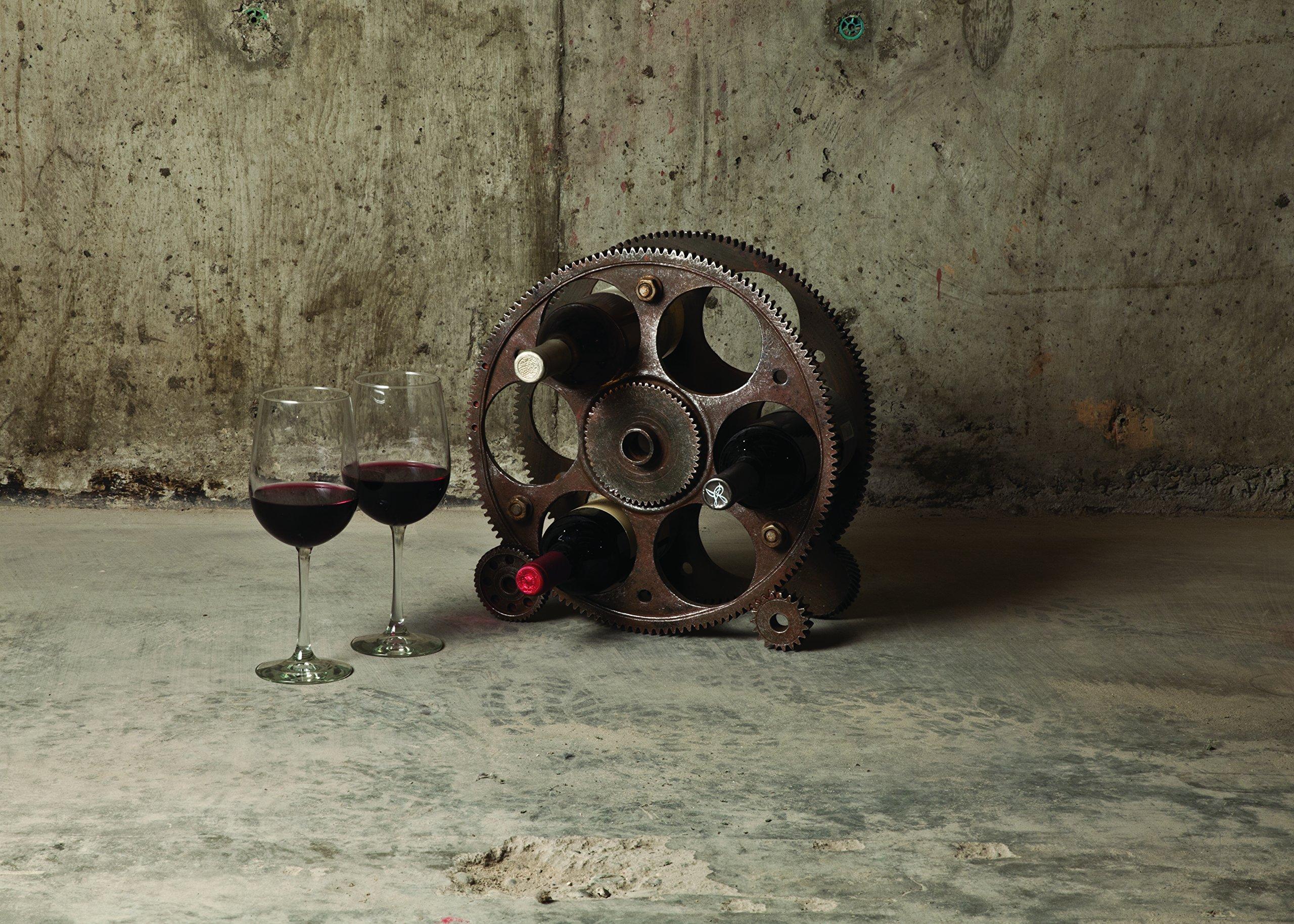 Foster & Rye Gears Countertop Rack and Wine Bottle Holder, 13.5″, Bronze