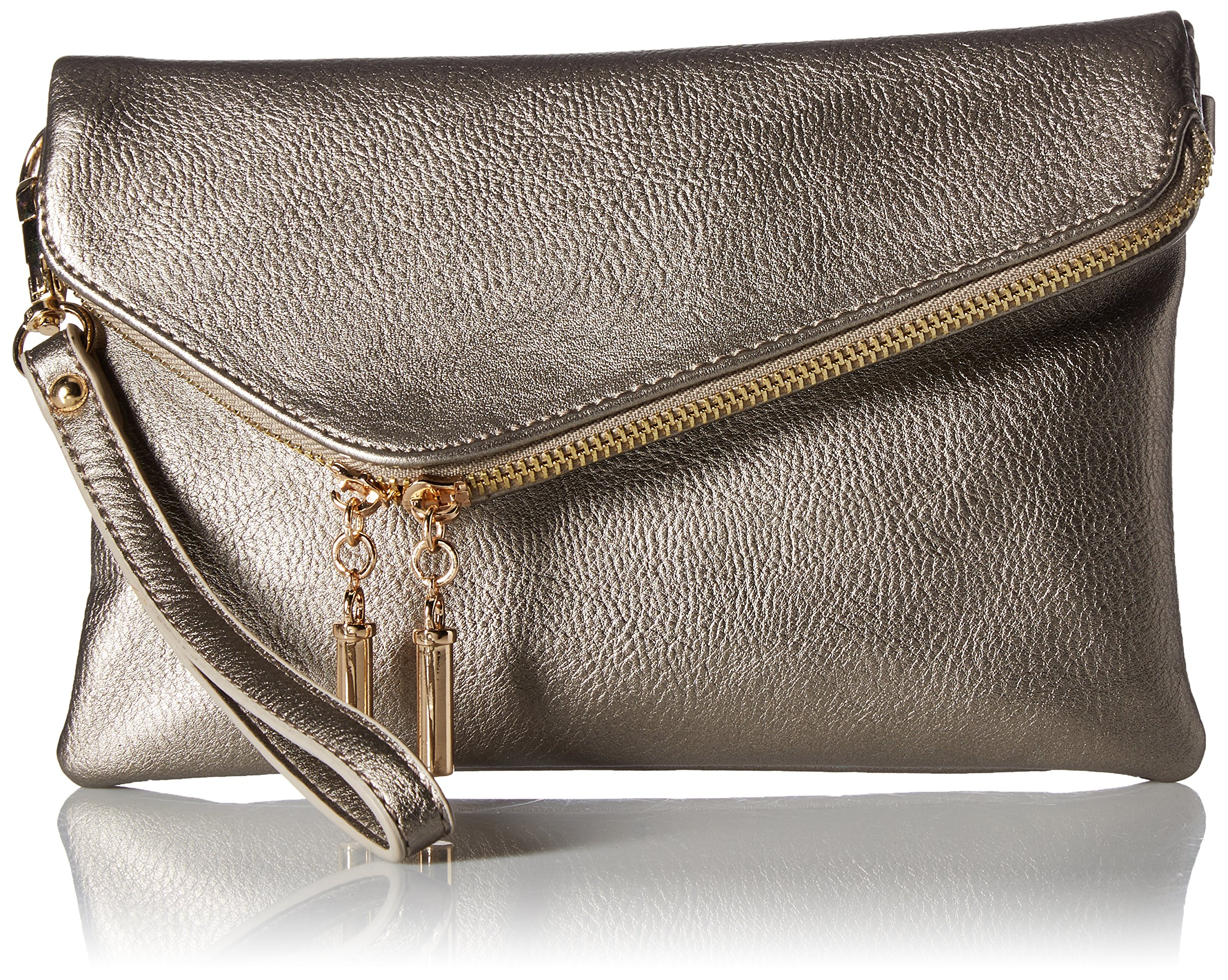 Elphis Fashion Evening Envelope Fold Over Clutch Wristlet Purse Cross Body Bag (023-Light Pewter)