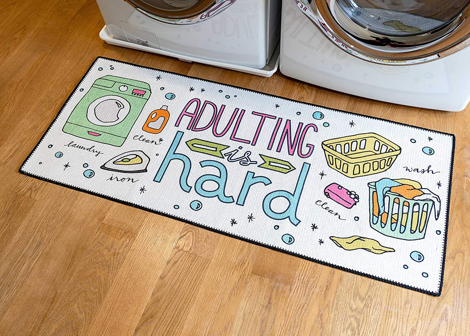 Runner Floor Mat for Washroom Non Skid Rubber Area Rugs Durable Benissimo Laundry Room Rug Mudroom Cotton Kitchen Decor Bathroom 24x56-ADUL Machine Washable