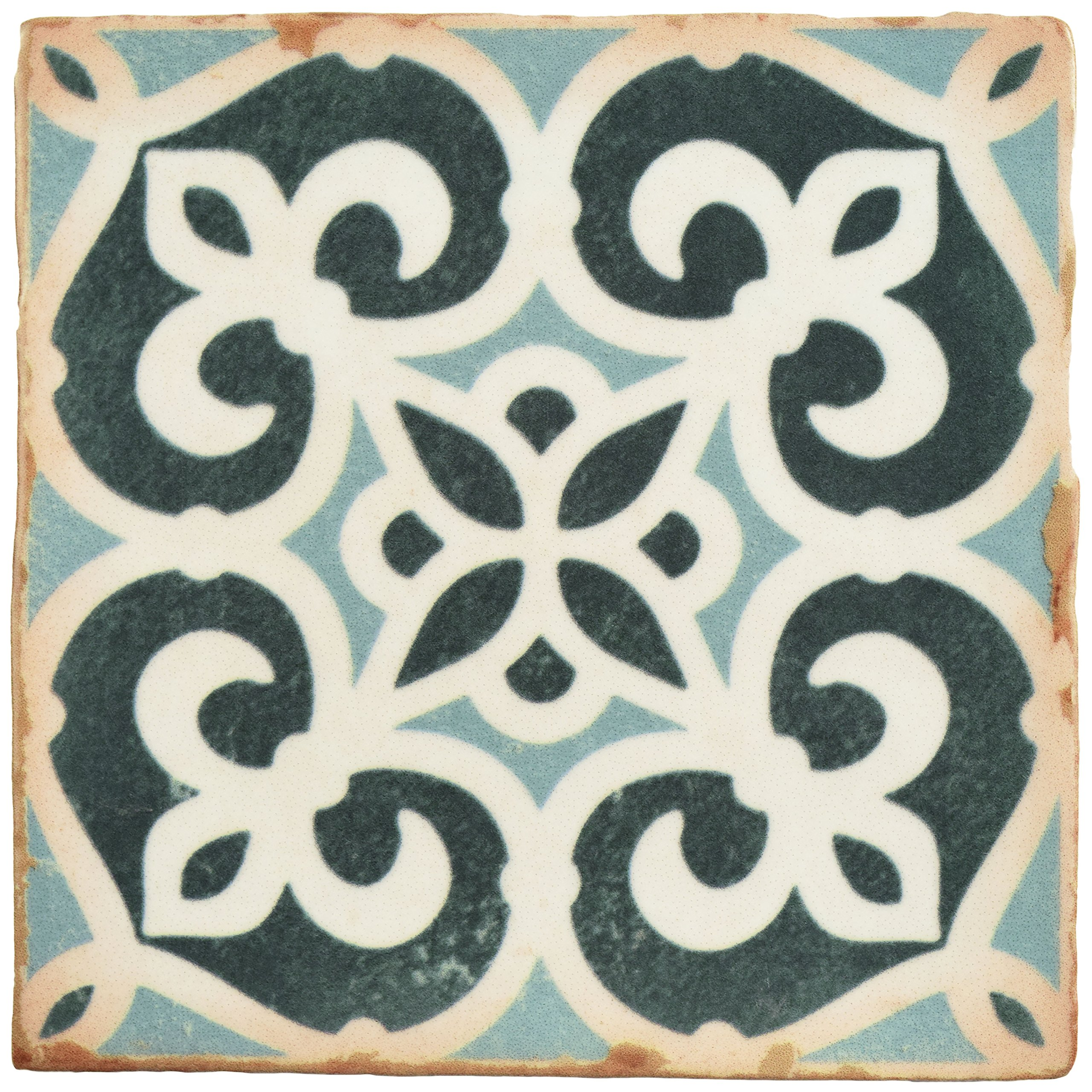 SomerTile FPEARCBK Modele Ceramic Floor and Wall Tile, 4.875'' x 4.875'', Blue/Cream/White/Brown