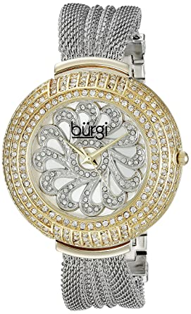 Burgi Womens BUR051 Analog Display Japanese Quartz Silver Watch - Stainless Steel Mesh Bracelet - Gold