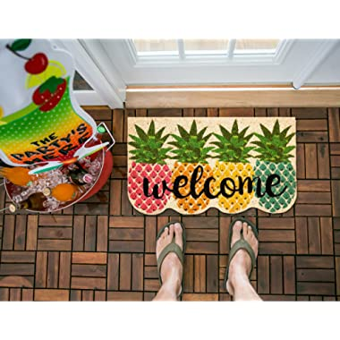 Evergreen Flag 2RM417 Colorful Pineapples Shaped Coir Mat, Multi