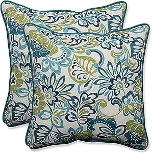 "Pillow Perfect Outdoor/Indoor Zoe Mallard Throw Pillows, 18.5"" x 18.5"", Blue, 2 Count"