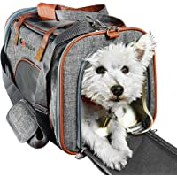 Ess And Craft Pet Carrier Airline Approved   Side Loaded Travel Bag With Sturdy Bottom & Fleece Cushion   Ventilated Pouch With Faux Leather Top Handle & Zipper Locks   For Dogs, Cats, Small Pets