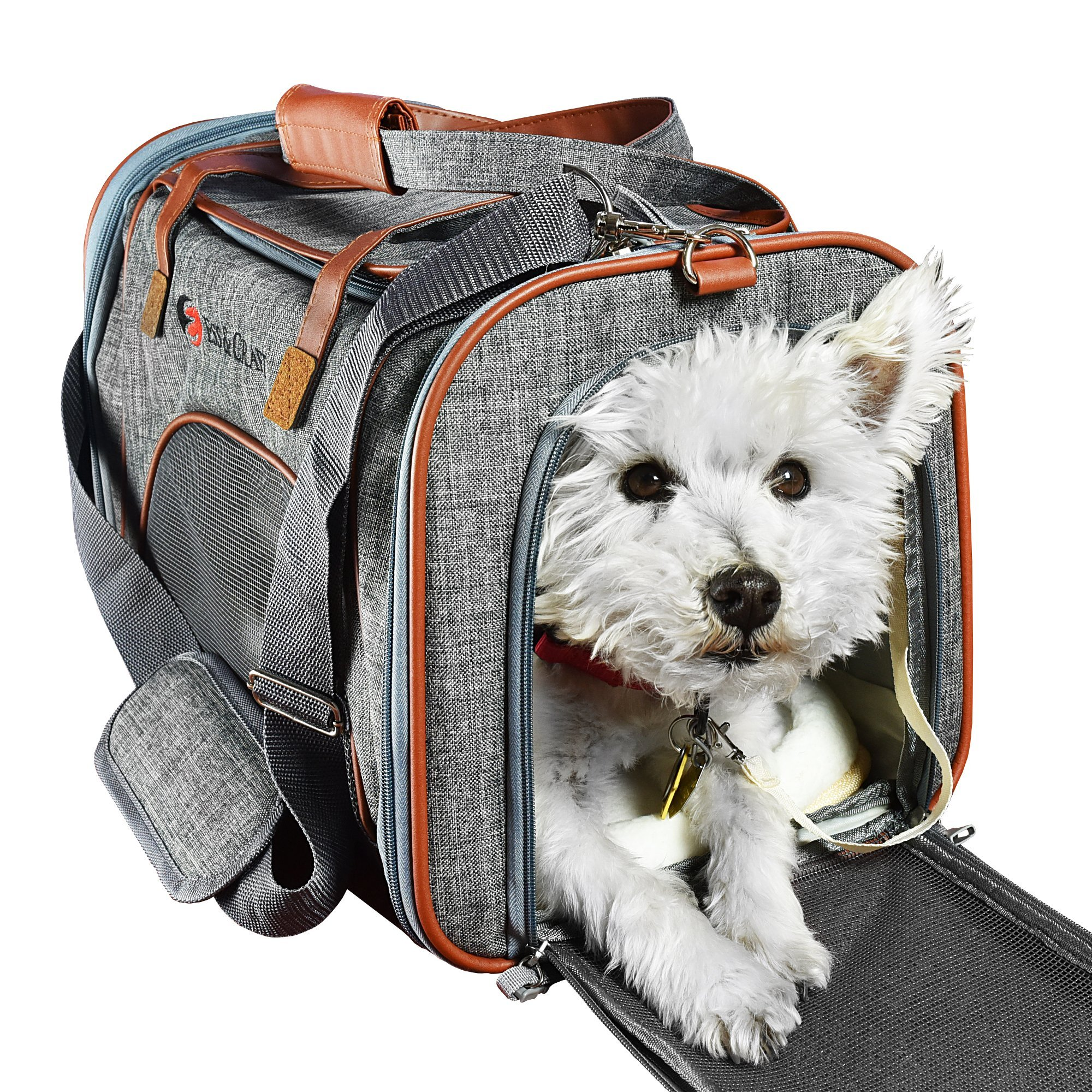 Ess And Craft Pet Carrier Airline Approved | Side Loaded Travel Bag With Sturdy Bottom & Fleece Cushion | Ventilated Pouch With Faux Leather Top Handle & Zipper Locks | For Dogs, Cats, Small Pets