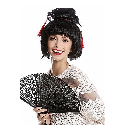 WIG ME UP ® - 90747-ZA103 Peluca Mujer Halloween Carnaval Japón Geisha Maiko asiática moño updo Negro: Juguetes y juegos