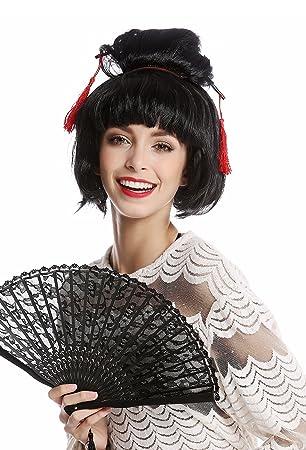 WIG ME UP ® - 90747-ZA103 Peluca Mujer Halloween Carnaval Japón Geisha Maiko asiática moño updo Negro