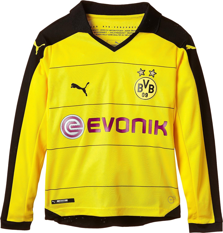 Borussia Dortmund Puma Camiseta para niños de Manga Larga Camiseta del Local con Adhesivo