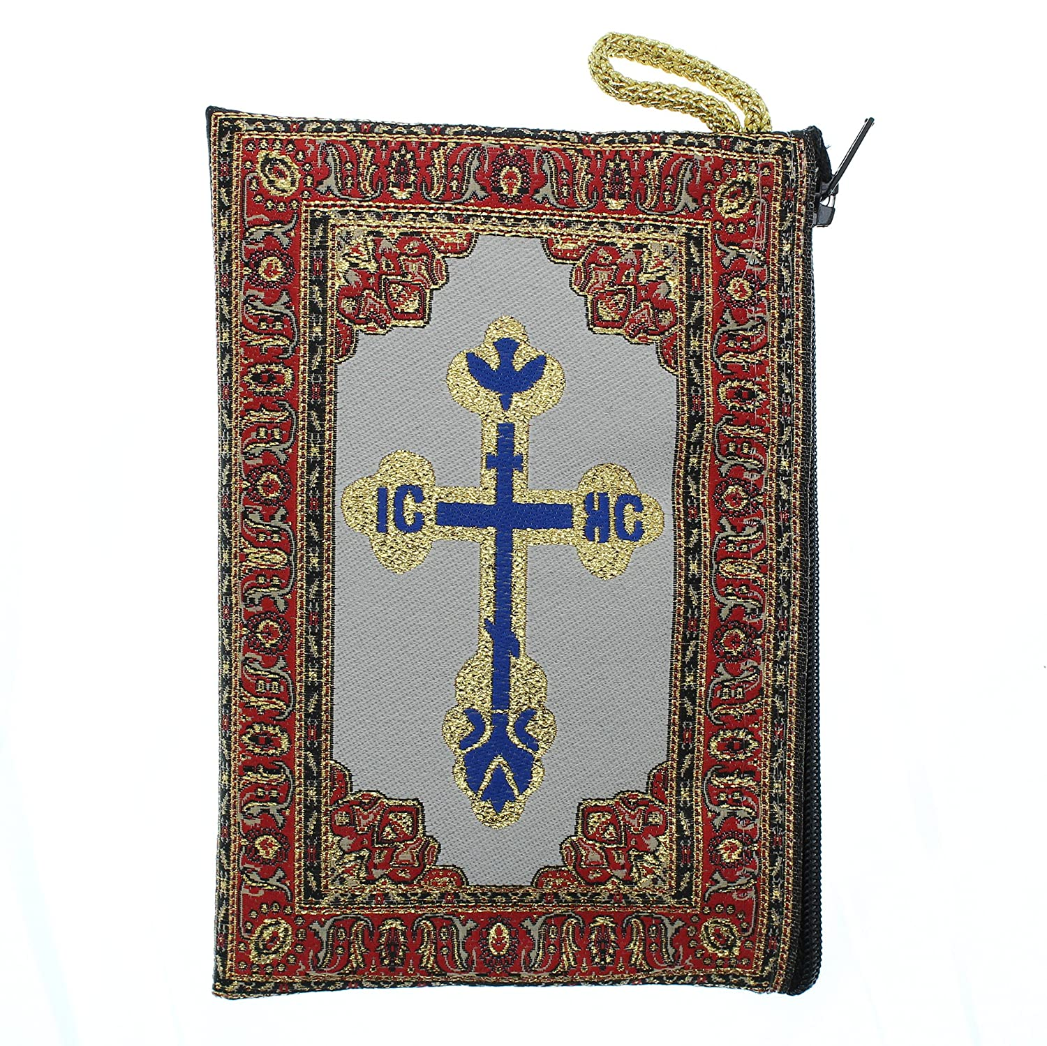Intercession Hand-Woven Blue - Small IntercessionTM Lined Madonna and Child Rosary Pouch Made in Turkey with Premium Metallic Thread