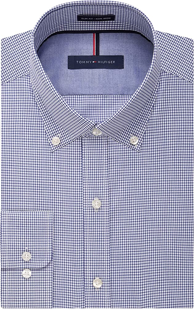Tommy Hilfiger Non Iron Slim Fit Gingham Buttondown Collar Dress Shirt Camisa de Vestir, Azul (Ocean), XXL-47 cm Cuello 89/91 cm Manga para Hombre: Amazon.es: Ropa y accesorios