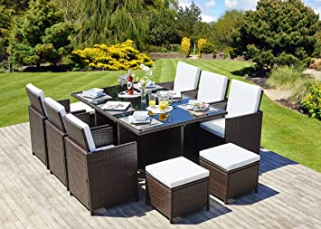 Abreo rattan weave dining rectangle cube set 610 seat garden abreo rattan weave dining rectangle cube set 610 seat garden conservatory furniture brown workwithnaturefo