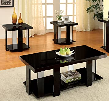 Lovely Furniture Of America Oslo 3 Piece Modern Accent Tables Set, Black