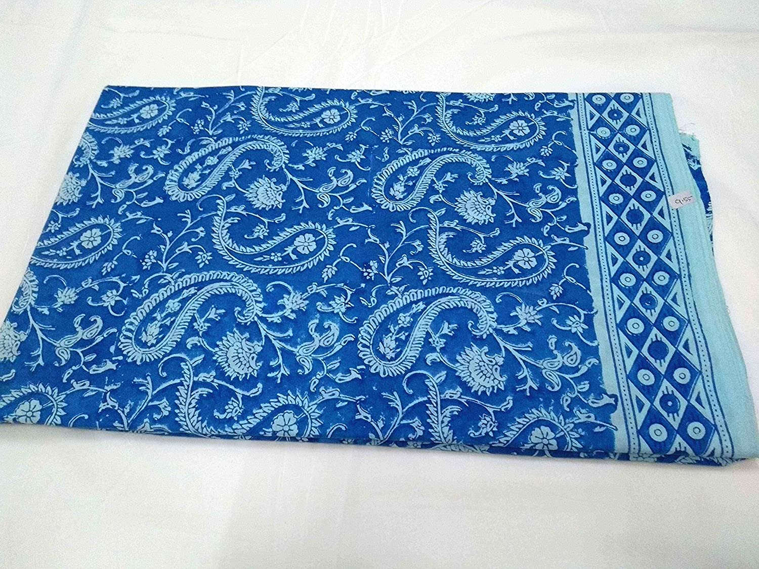 5 Yard Indian Running Sewing Cotton Fabric Flower Hand Block Blue color Handmade