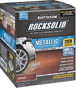 Rust-Oleum 286894 RockSolid Metallic Garage Floor Kit, 70 fl oz, Copper Pot, 70 Fl. Oz