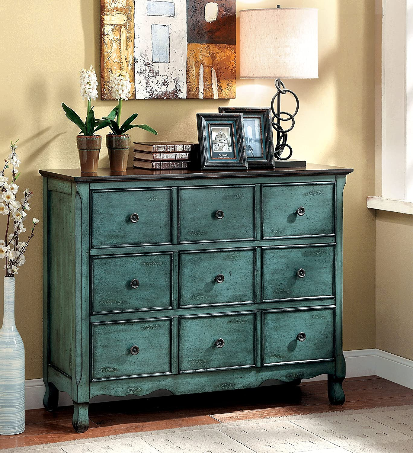 Amazon.com: Furniture Of America Camina Vintage Style Storage Chest,  Antique Green/Brown: Kitchen U0026 Dining