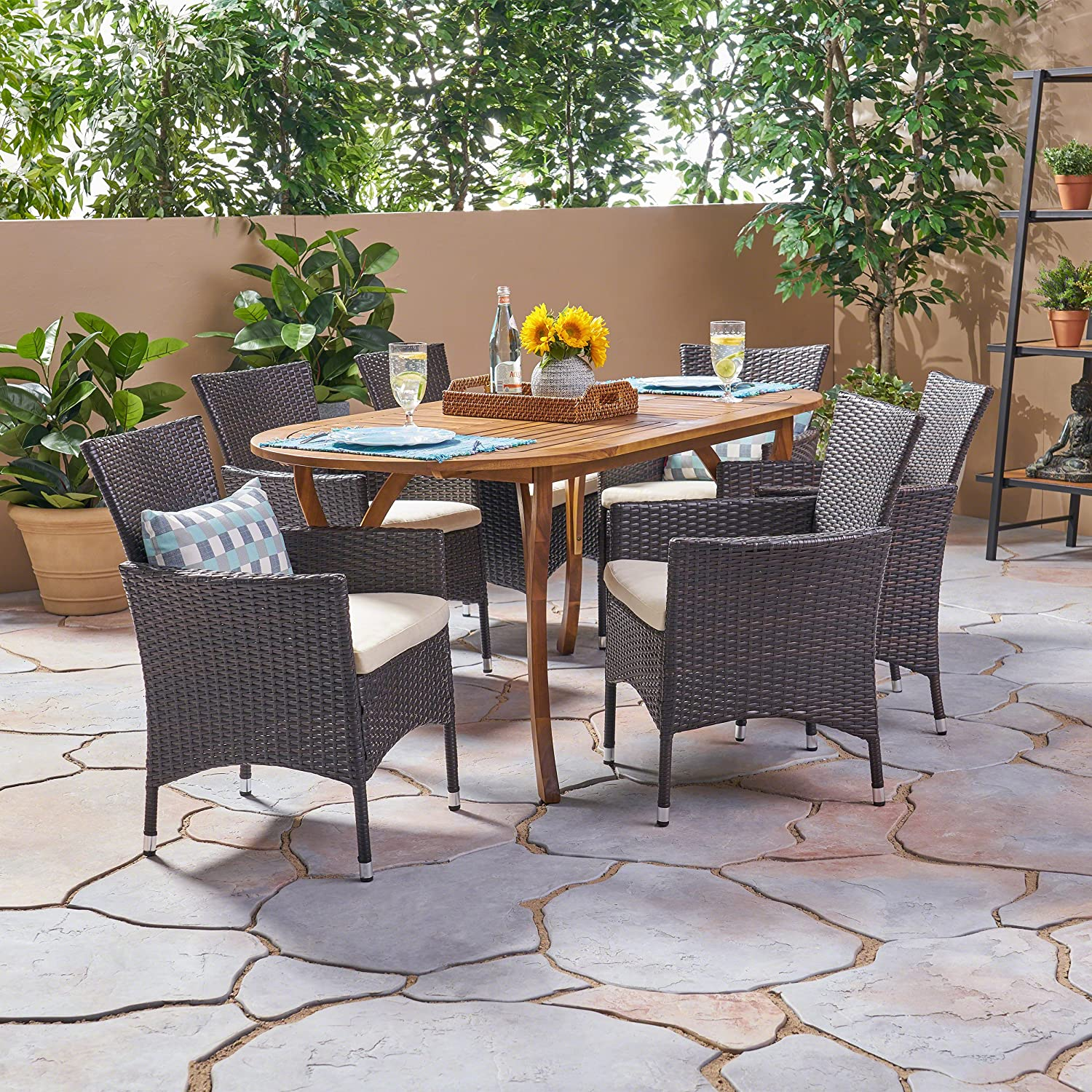 Christopher Knight Home Edna Outdoor 7 Piece Acacia Wood and Wicker Dining Set, Teak with Multi Brown Chairs