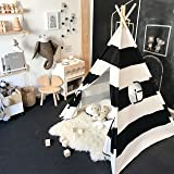 Kids Teepee Tent for Boys, Black and White Stripe Children Play Tent with Canvas Carry Case for Indoor & Garden, By Tiny Land