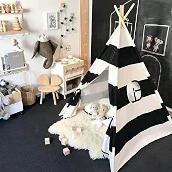 the best attitude 4f2a5 5deff Tiny Land Kids Teepee Tent for Boys, Black and White Stripe Children Play  Tent with Canvas Carry Case for Indoor & Garden