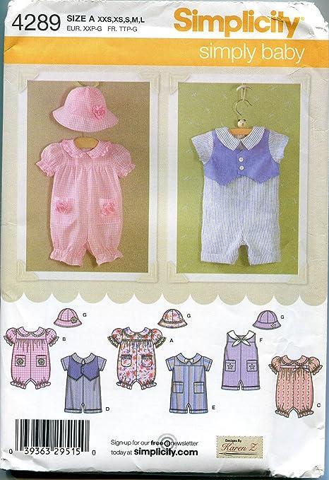 Patrón de costura Simplicidad 4289 bebé Pelele y sombreros: Amazon ...