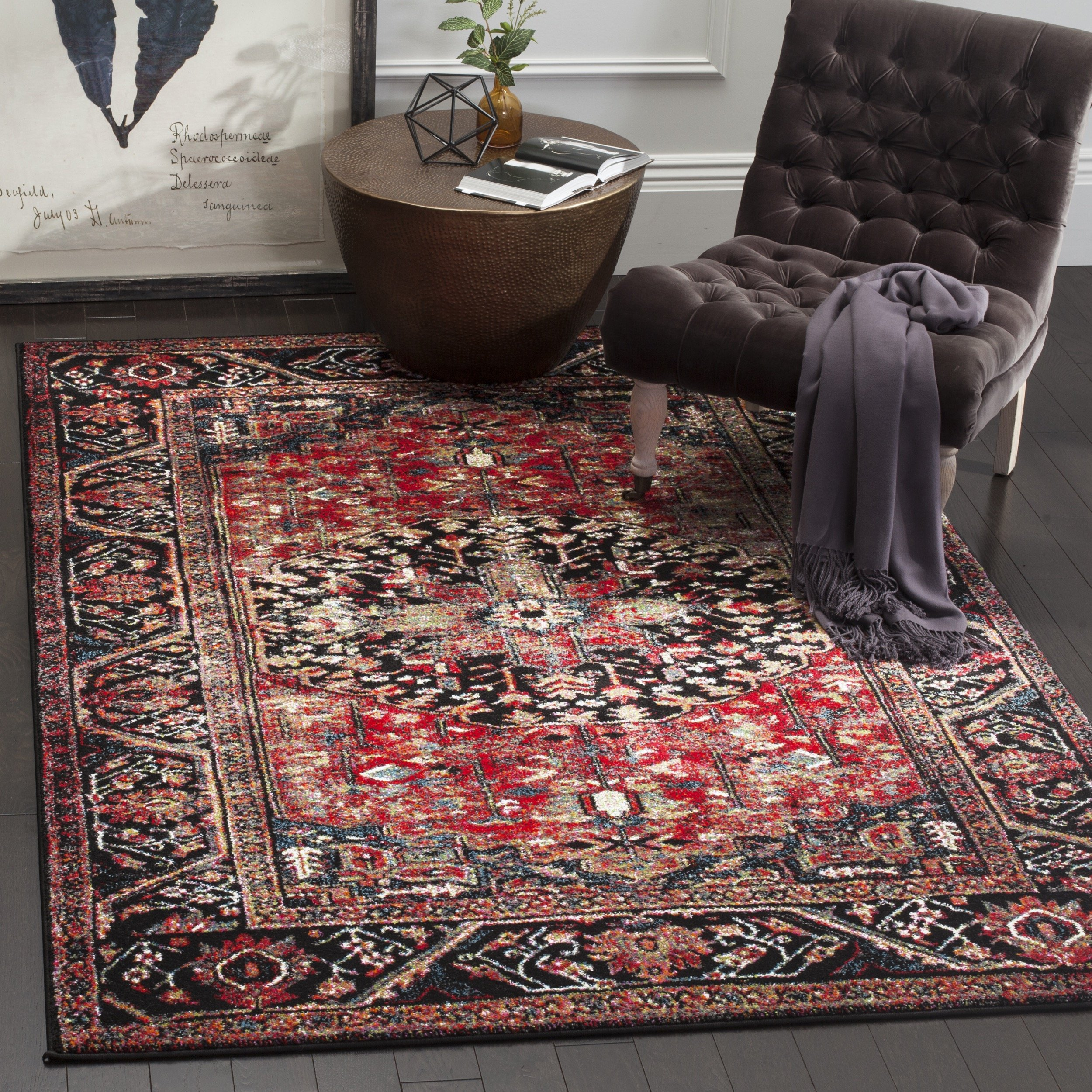 Safavieh Vintage Hamadan Collection VTH215A Oriental Antiqued Red and Multi Area Rug (8' x 10')