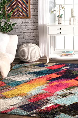nuLOOM Paisley Bohemian Abstract Shag Rug, 4 x 6 , Multi