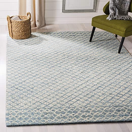 Amazon Com Safavieh Abstract Collection Abt203a Handmade Premium Wool Area Rug 9 X 12 Blue Ivory Furniture Decor