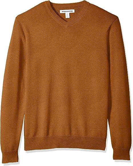 brown v-neck sweater for men