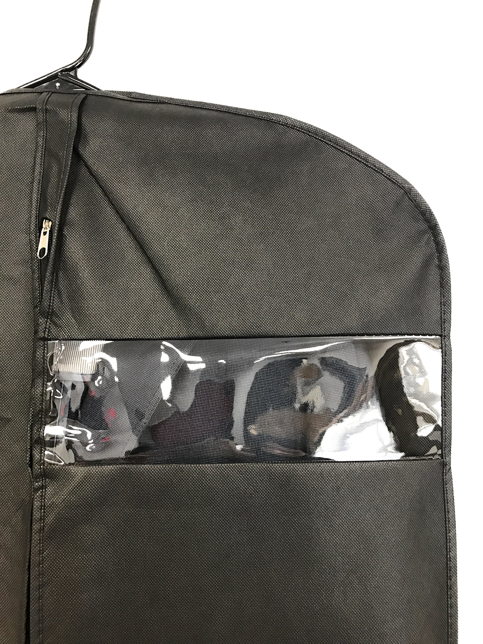 Garment Bag Covers By MYTH21 for Luggage, Dresses, Linens, Storage or Travel Suit Bags with Clear Window Pack of 5 (Black, 54) by MYTH21 (Image #2)