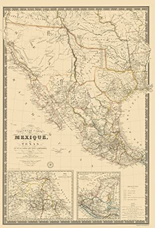Amazon.com: Old North America Map - Mexico, Southwest United States ...