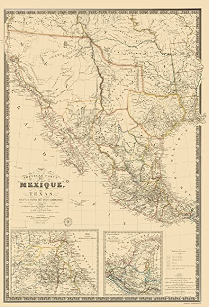 Amazoncom Old North America Map Mexico Southwest United States - Us-map-1840