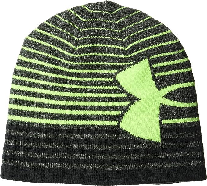 NEW Under Armour Boys Blue Black Gray Billboard Beanie Knit Hat Cap Free Shippin